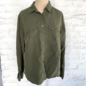 Button up shirt top olive green cargo pocket flap